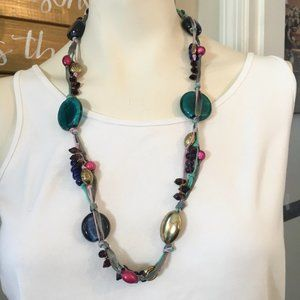 """VTG 33"""" Colorful Beaded Endless Strand Necklace"""